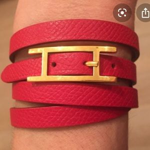 Hermes 18k Gold Hapi Quad Red Leather Bracelet
